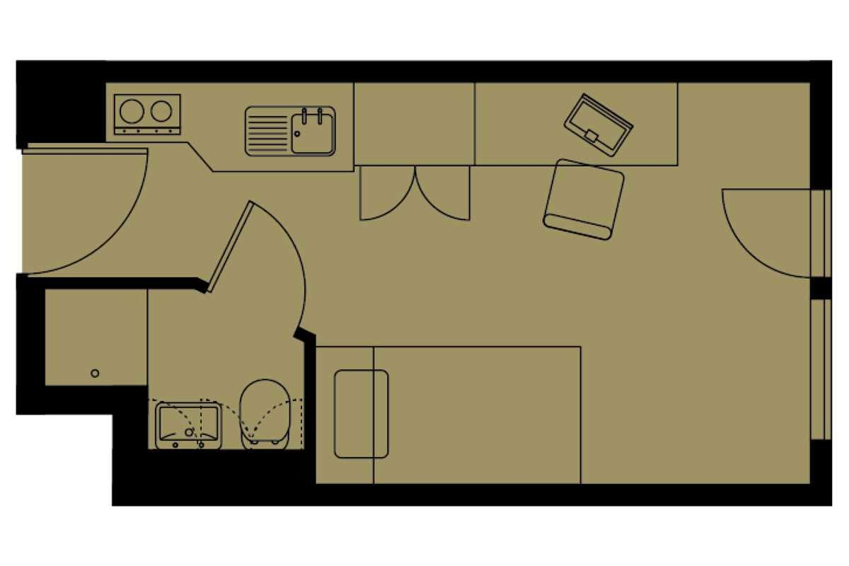 Bronze Studio Floorplan - Please note, all images are indicative.