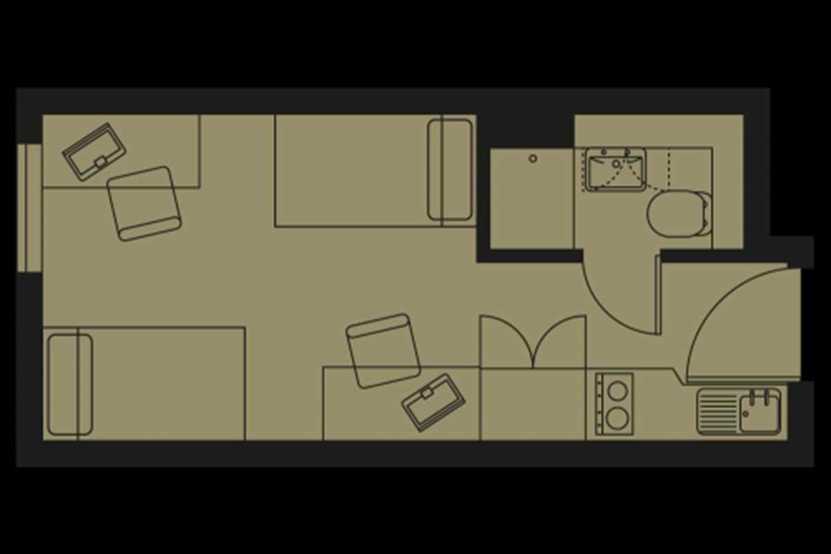 Bronze Twin Studio Floorplan