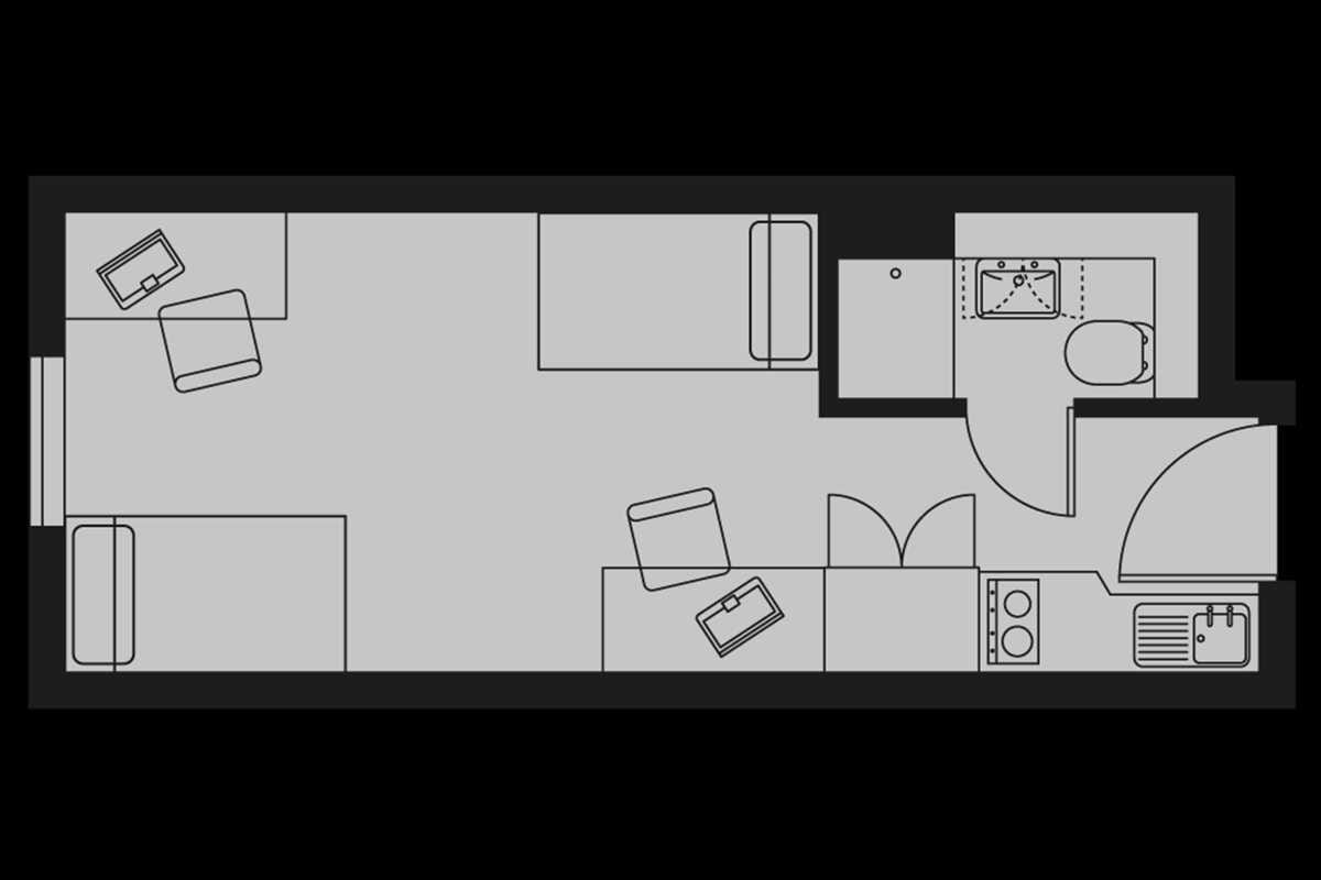 Silver Twin Studio Floorplan