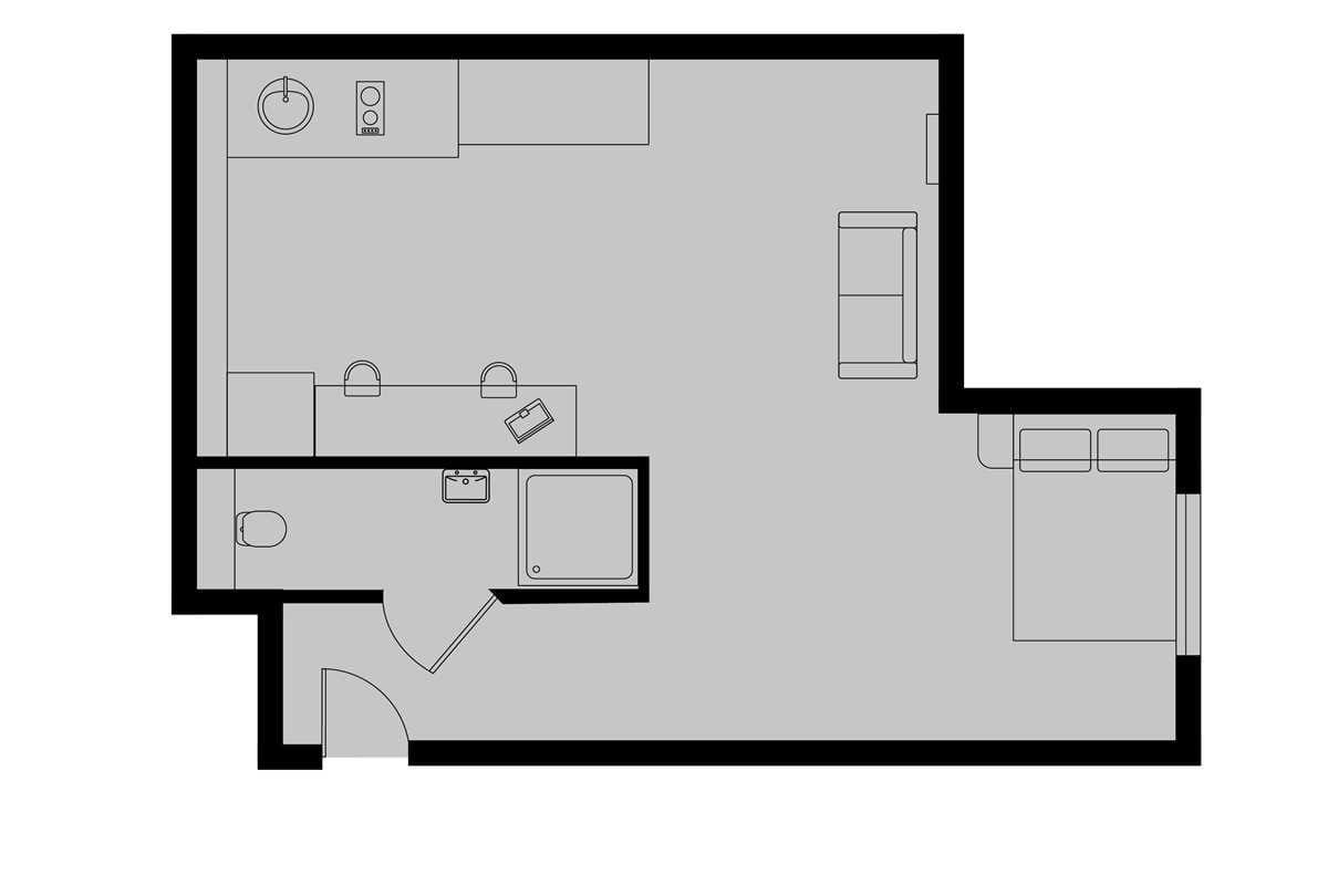 Diamond Studio Floorplan (Indicative - Exact Floorplan may vary)