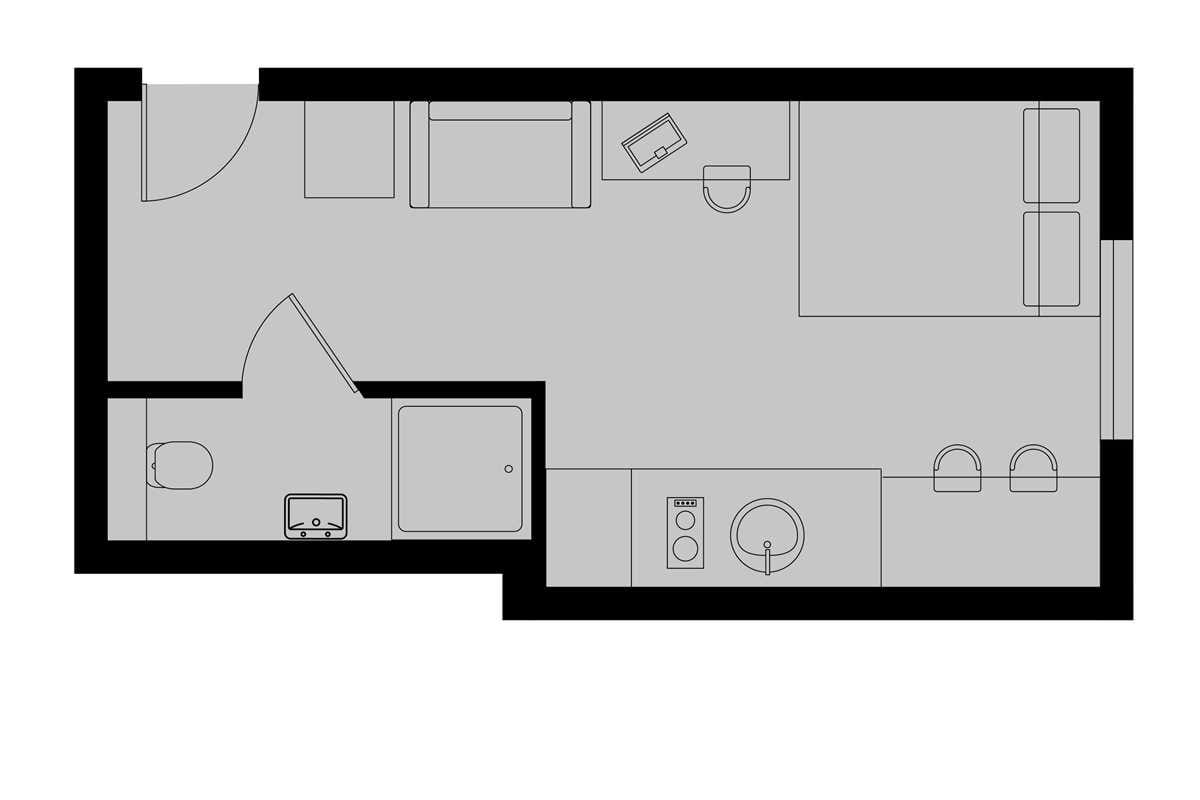 Platinum Studio Floorplan (Indicative - Exact Floorplan may vary)