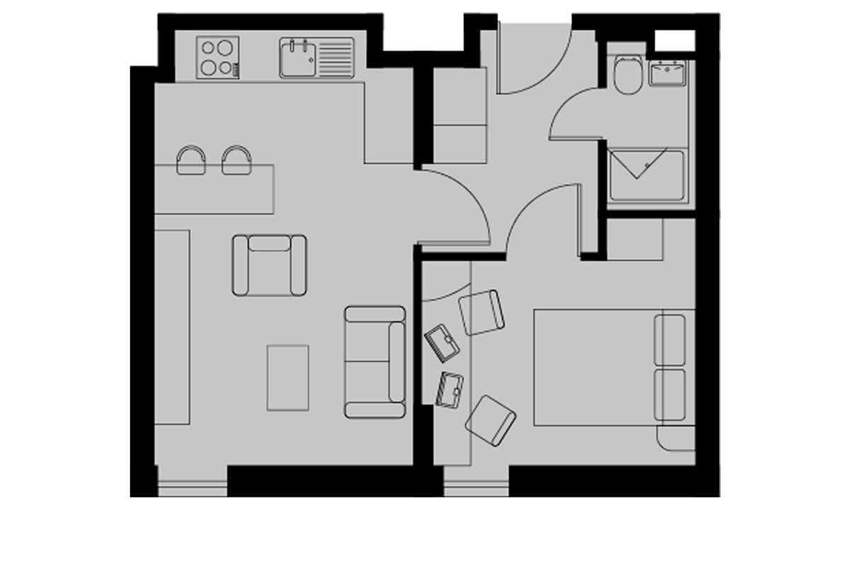 Silver One Bed Apartment Floorplan
