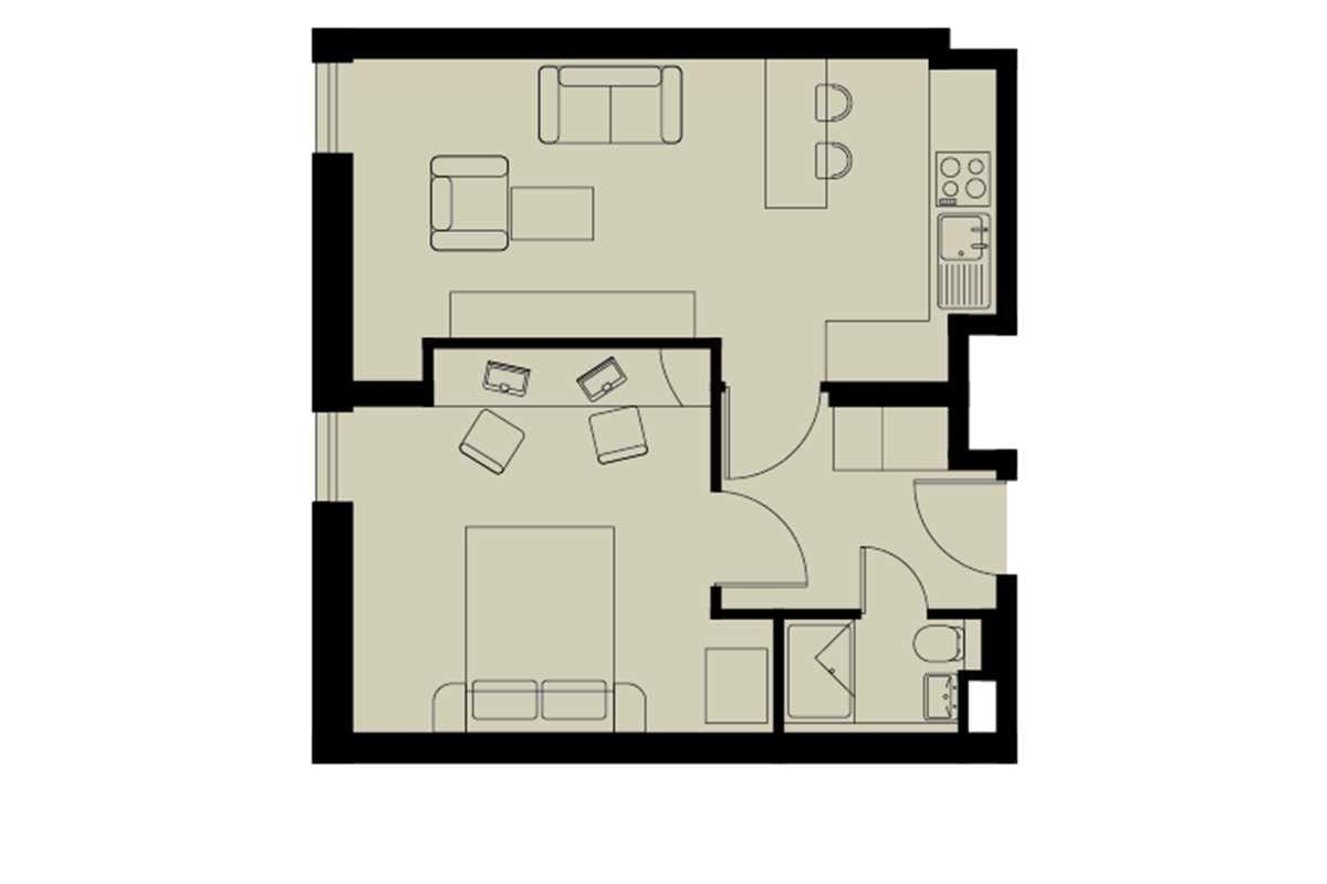 Gold One Bed Apartment Floorplan