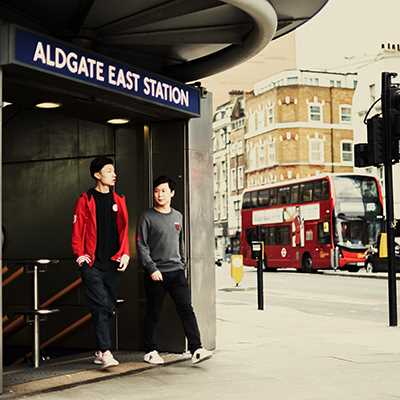2 Students come out of Aldgate East Tube Station