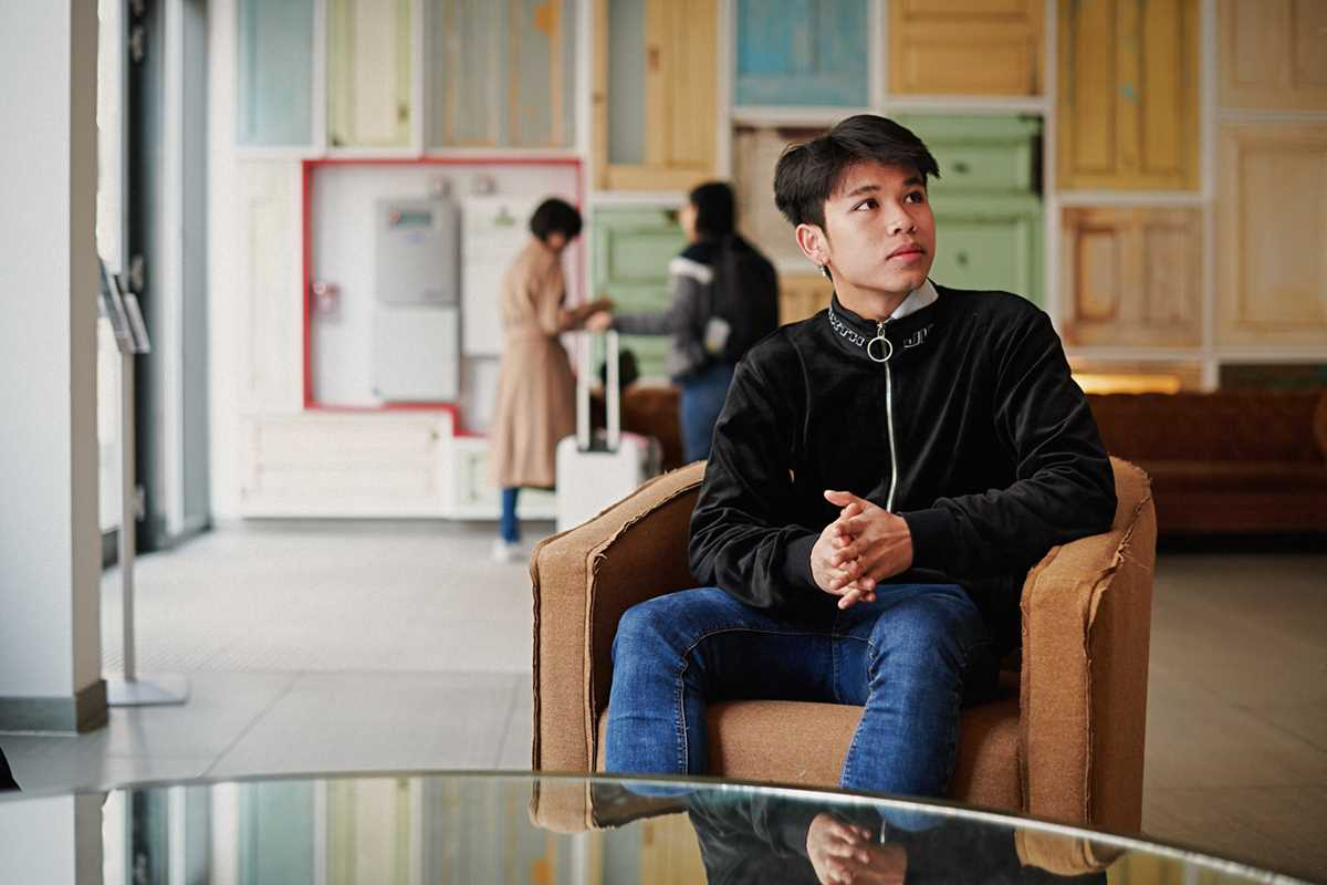 Student sitting in Chapter Old Street reception